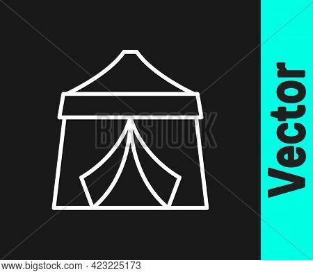 White Line Circus Tent Icon Isolated On Black Background. Carnival Camping Tent. Amusement Park. Vec