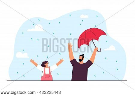 Cheerful Dad And Daughter Getting Wet In Rain. Father Holding Umbrella For Other Purposes, Enjoying