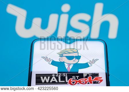 Kazan, Russia - June 09, 2021: Wish Is Online E-commerce Platform That Facilitates Transactions Betw