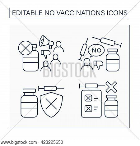 No Vaccination Line Icons Set. Vaccination Refused. People Avoid Group Inoculation. Fight Against Co