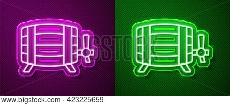 Glowing Neon Line Wooden Barrel Icon Isolated On Purple And Green Background. Alcohol Barrel, Drink
