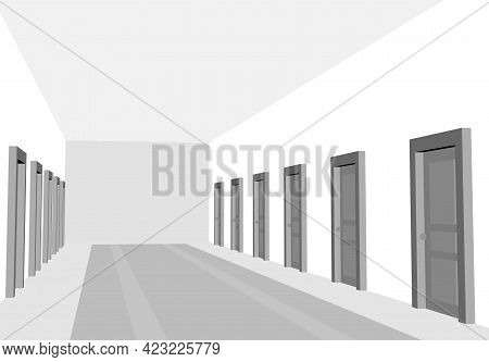 Hotel, Clinic Or Hostel Hall With Black And White Color. Corridor With Doors In Perspective View