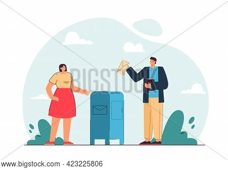 Man And Woman Sending Letters Vector Illustration. Male And Female Character Standing Near Mailbox.