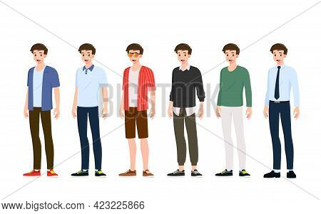 Collection Of Smiling Handsome Young Man In Different Fashionable Clothes Style Standing Isolated On