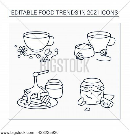 Food Trends Line Icons Set. Trendy Dishes. Jelly Recipe, Chicory And Herbs Drink, Hot Honey. New Rec
