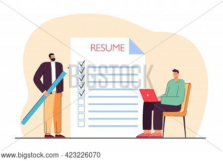 Man Applying For Job Vector Illustration. Male With Pencil Ticking Points In Resume, Another Man Wit