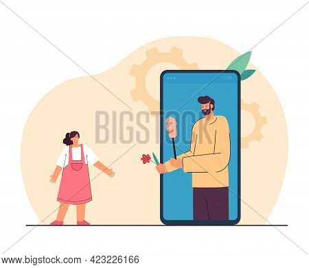 Online Crime Towards Children. Bearded Bad Man In Smartphone Pretending To Be Good Giving Sweet To L