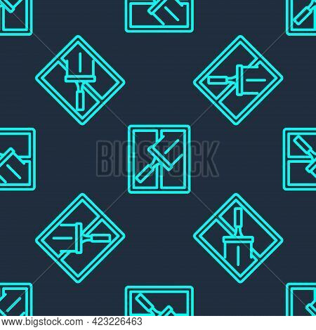 Green Line Cleaning Service With Of Rubber Cleaner For Windows Icon Isolated Seamless Pattern On Blu