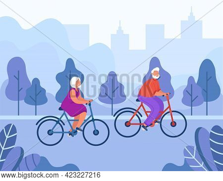Senior Couple Riding Bicycles Vector Illustration. Happy Active Man And Woman Riding Bikes In City P