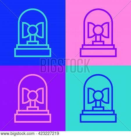 Pop Art Line Flasher Siren Icon Isolated On Color Background. Emergency Flashing Siren. Vector