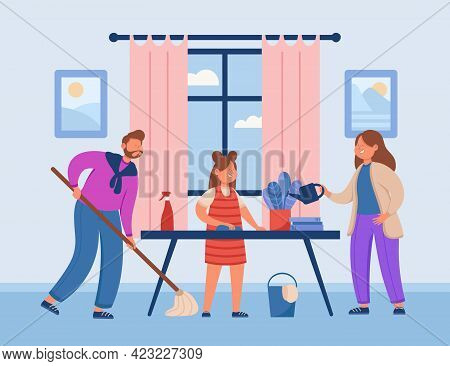 Family Doing Chores Vector Illustration. Happy Smiling Mother, Father And Daughter Keeping Apartment