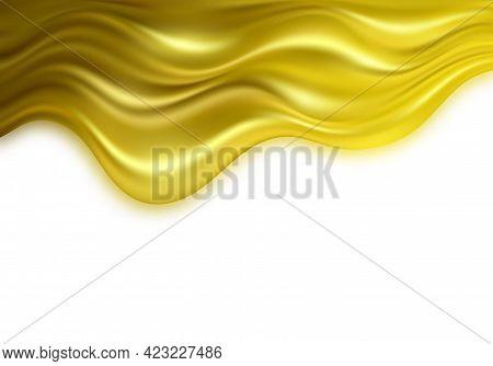 Gold 3d Wave On White Background. Abstract Motion Modern Illustration. Luxury Golden Color Flow Back