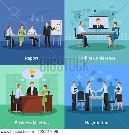 Business Meeting Concept. Conference Vector Illustration. Meeting Flat Icons Set. Conference Design