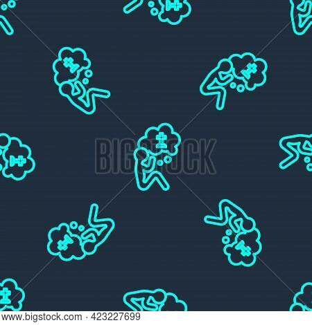 Green Line Man Graves Funeral Sorrow Icon Isolated Seamless Pattern On Blue Background. The Emotion