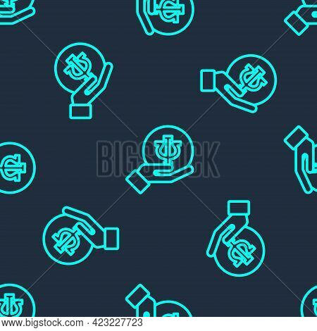 Green Line Psychology Icon Isolated Seamless Pattern On Blue Background. Psi Symbol. Mental Health C