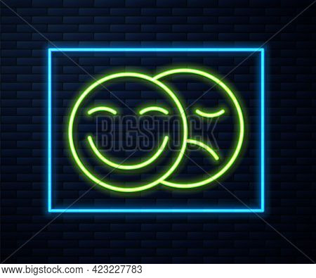 Glowing Neon Line Comedy And Tragedy Theatrical Masks Icon Isolated On Brick Wall Background. Vector