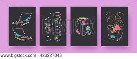 Set Of Contemporary Posters With Takeout Food. Pizza Boxes, Coffee Cups Vector Illustrations, Black