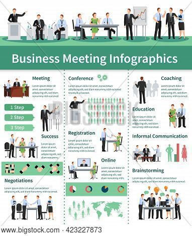 Business Meeting Infographic Set.business Meeting  Information. Business Conference Flat Set. Busine