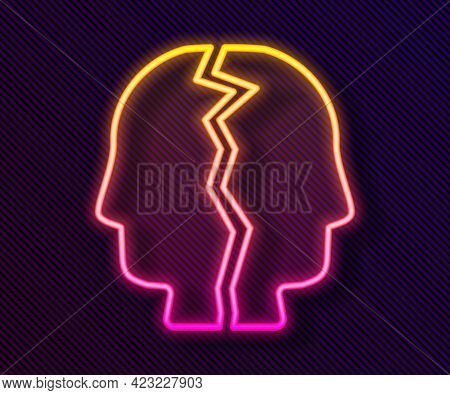 Glowing Neon Line Bipolar Disorder Icon Isolated On Black Background. Vector