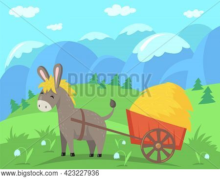Cute Donkey Character Pulling Cart With Hay. Happy Domestic Animal In Field With Mountain Peaks In B