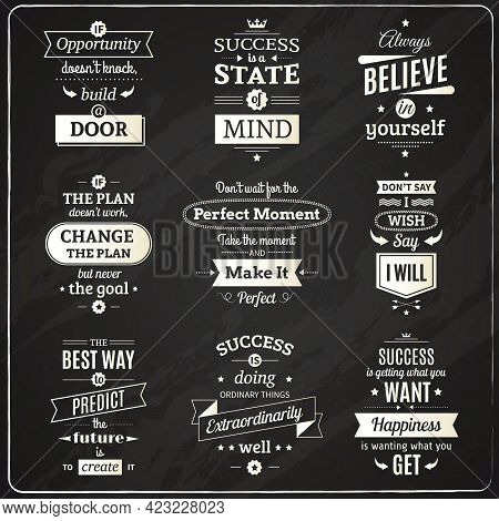 Set Of Success Motivational And Philosophical Quotes Chalkboard Isolated Emblems Making In Fashioned