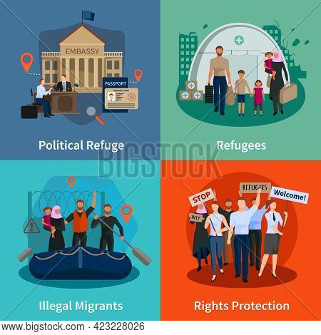 Stateless Refugees  2x2 Design Concept Set Of Political Refuge Illegal Immigrants Rights Protection