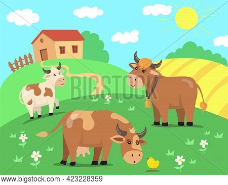 Herd Of Cow Characters With Chicken On Hill In Front Of House. Cattle Walking Outside In Sunny Villa