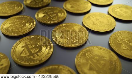 Illustration Of Stack And Rows Of Golden Bitcoins. Financial Growth Concept With Golden Bitcoins. Ne