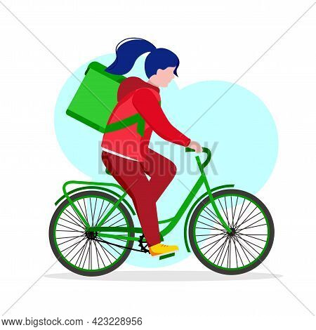 Delivery Service, A Courier Girl On A Bicycle Delivers An Online Order To Your Home. Vector Illustra