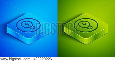Isometric Line Light Bulb With Concept Of Idea Icon Isolated On Blue And Green Background. Energy An
