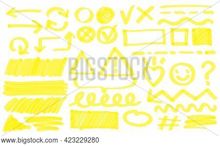 Yellow Hand-drawn Doodle Drawings Vector Illustration Set. Scribble Arrow, Circle, Heart, Lines Unde