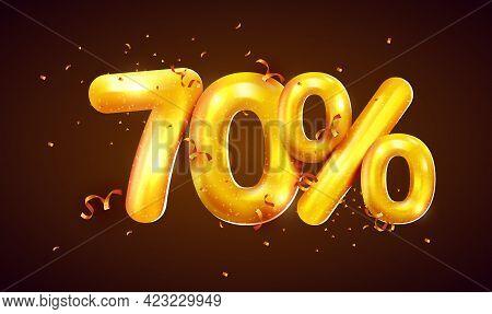 70 Percent Off. Discount Creative Composition Of Golden Balloons. 3d Mega Sale Or Seventy Percent Bo