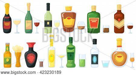 Bottles Of Alcoholic Drinks With Glasses Vector Illustration Set. Liquor, Whisky, Wine, Foam Beer, R