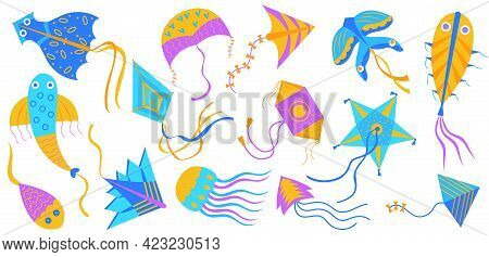 Colorful Flying Kites Cartoon Illustration Collection. Different Types Of Toy Kites In Wind In Form