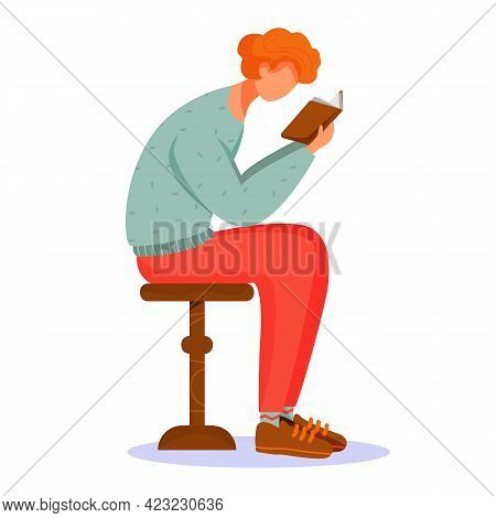 Man Reading Book Flat Vector Illustration. Guy Passionate About Literary Work. Self Education. Stude
