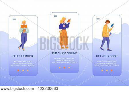 Online Bookstore Onboarding Mobile App Screen Vector Template. Select, Purchase, Get Book. Walkthrou