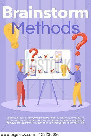 Brainstorm Methods Brochure Template. Teamwork. Flyer, Booklet, Leaflet Concept With Flat Illustrati