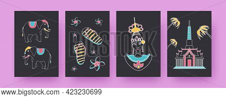 Collection Of Contemporary Posters With Thailand Symbols. Elephants, Thai Dancer, Temple Vector Illu