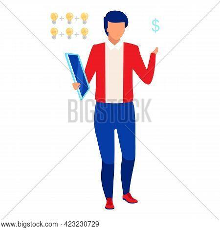 Professional Marketer Flat Vector Illustration. Company Employee, Businessman Isolated Cartoon Chara