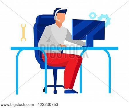 Technical Support Operator Flat Vector Illustration. Company Employee, Technician Isolated Cartoon C