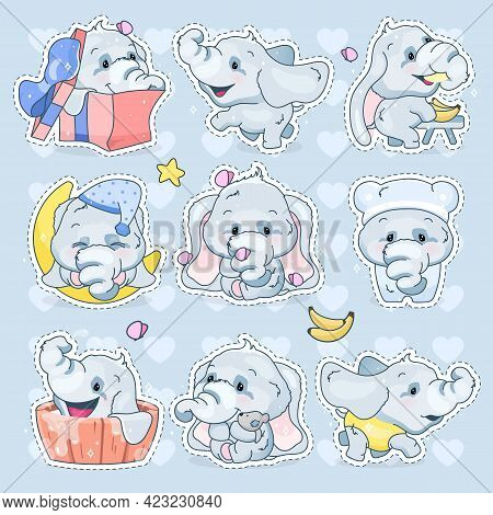 Cute Elephants Kawaii Cartoon Vector Characters Set. Adorable And Funny Animal Different Poses And E