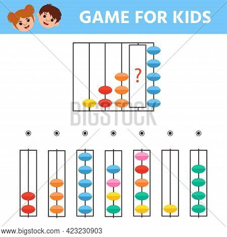 Children's Matching Educational Game With Abacus. School Education Theme. Activity Worksheet For Kid