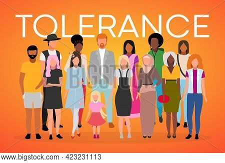 International Tolerance Poster Vector Template. Unity In Diversity. Brochure, Cover, Booklet Page Co