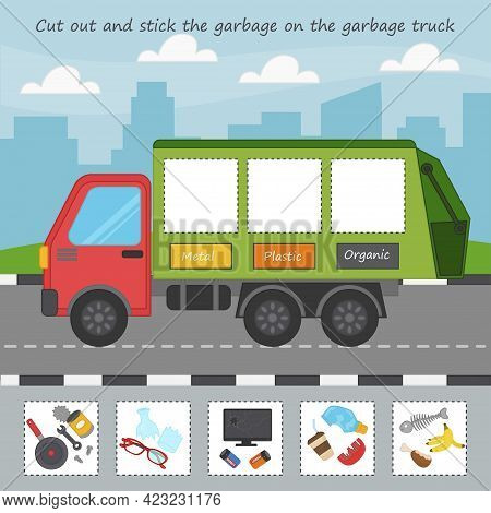 Game For Kids. Eductaional Children Activity. Ecology Theme. What Kind Of Trash The Garbage Truck Ca