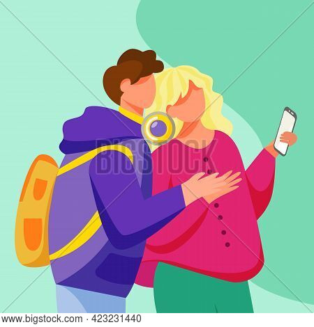 Young Couple Looking To Smartphone Screen Flat Vector Illustration. Teenage Lovers With Gadget. Mill