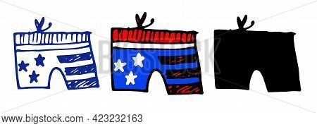 Doodle Shorts Flag America In American Style On White Background.vector Shorts With American Flag Pa