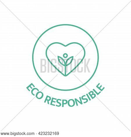 Eco Responsible Line Icon. Slow Fashion. Fabric Badge. Quality Certificate Tag. Biodegradable Symbol