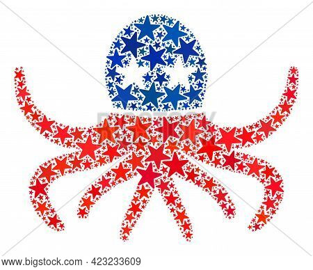Octopus Collage Of Stars In Various Sizes And Color Tinges. Octopus Illustration Uses American Offic