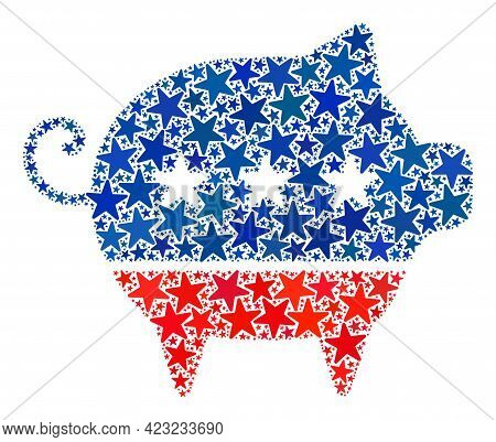 Swine Mosaic Of Stars In Different Sizes And Color Shades. Swine Illustration Uses American Official
