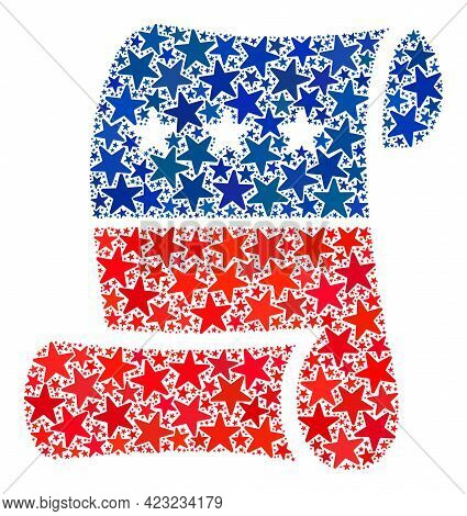 Constitution Roll Paper Mosaic Of Stars In Variable Sizes And Color Tints.